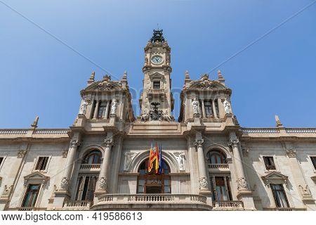 Valencia City Hall (plaza Del Ayuntamiento) Facade Against Blue Sky. Valencia, Spain