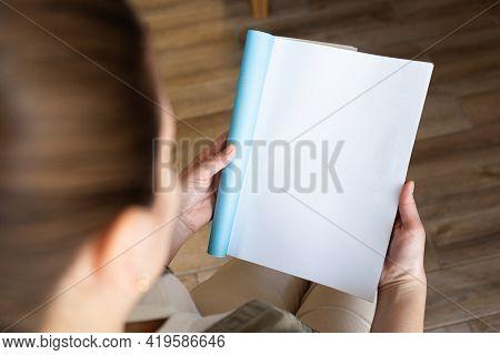 Female Hands Open Blank Catalog, Magazines, Book Mock Up