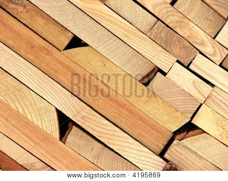 Planks Of Wood In A Sawmill