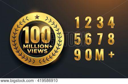 100 Million Or 100m Views Celebration Golden Label Design
