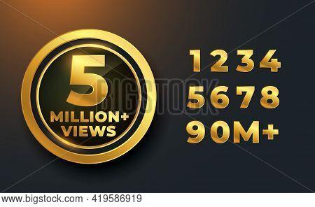 5 Million Or 5m Views Golden Label Badge Design