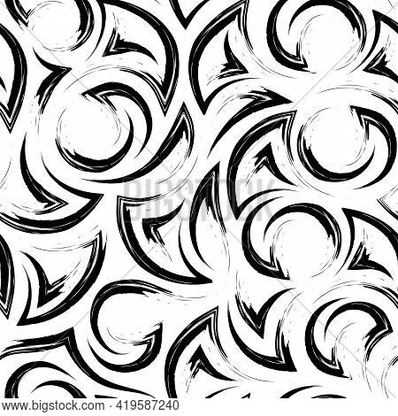 Seamless Vector Pattern Of Black Strokes Of Paint In The Form Of Corners Of Arcs And Circles Isolate