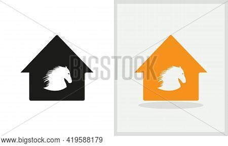 Horse House Logo Design. Home Logo With Horse Concept Vector. Horse And Home Logo Design