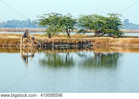 Scenic View And Landscape Of Rural West Bengal. Photo Taken At North 24 Parganas West Bengal India.