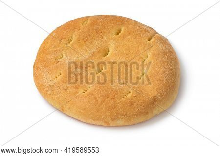 Single fresh baked traditional Moroccan semolina bread isolated on white background