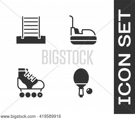 Set Racket And Ball, Swedish Wall, Roller Skate And Bumper Car Icon. Vector