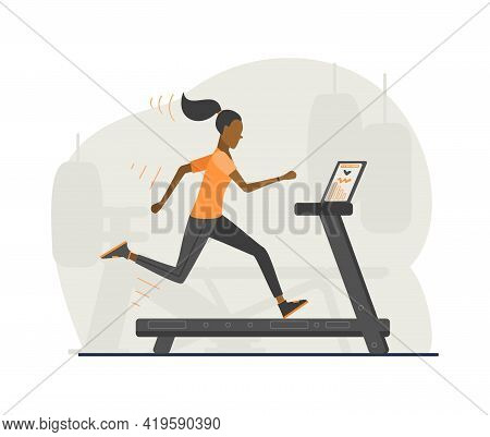 Woman Running On The Simulator In The Gym. Cardio Workout, Fitness Exercises. Healthy Life Style