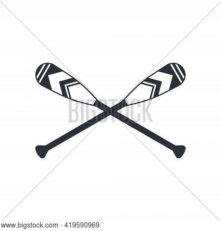 Crossed Oar Sign In Flat Style, Vector