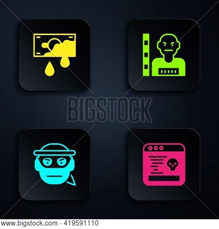 Set System Bug, Bloody Money, Bandit And Suspect Criminal. Black Square Button. Vector