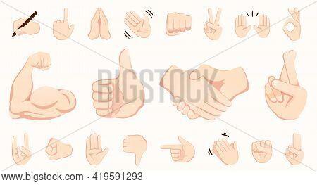 Hand Gesture Emojis Icons Collection. Handshake, Biceps, Applause, Thumb, Peace, Rock On, Ok, Folder