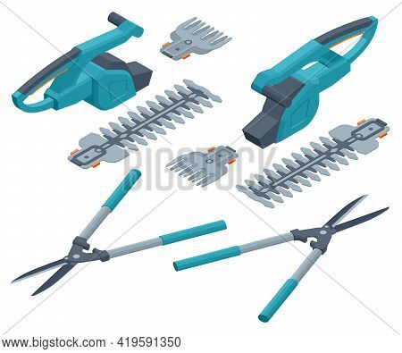 Trimming Work In Garden. Isolated Electrical Hedge Trimmer And Hedge Shears Isolated On White Backgr
