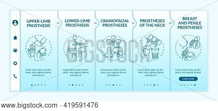 Artificial Limb Types Onboarding Vector Template. Responsive Mobile Website With Icons. Web Page Wal