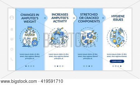 Artificial Limb Replace Conditions Onboarding Vector Template. Responsive Mobile Website With Icons.