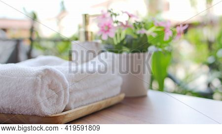 Spa Accessories,beautiful Composition Of Spa , Spa Relax Concept,beautiful Sap Set On Wood Table,for