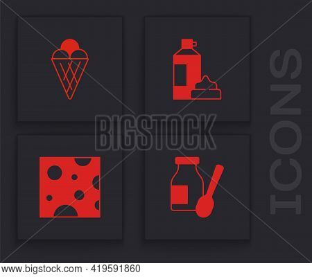 Set Drinking Yogurt In Bottle, Ice Cream Waffle Cone, Whipped And Cheese Icon. Vector
