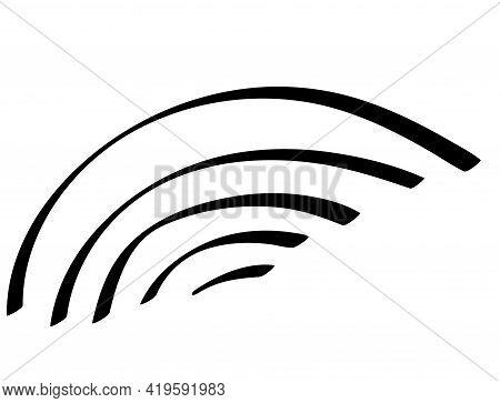 Outline Rainbow Icon. Arc Line Set. Communication Signal Strength. Rainbow Doodle. Vector Illustrati