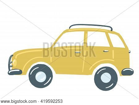 Yellow Suv Passenger Car. Insulated Car With Roof Rack. Hand Drawn Cartoon Style, Vector Illustratio