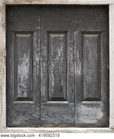 Background Blank Of Grey Wooden Frame. Old Silver Door With Empty Grunge Canvas For Your Text, Photo
