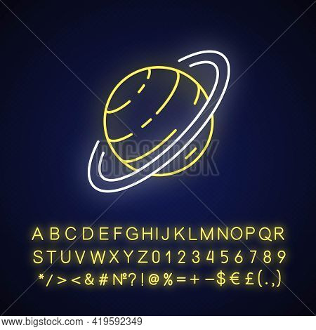 Saturn Neon Light Icon. Sixth Planet From Sun. Gas Giant Space Body With Gas Ring Around It. Outer G