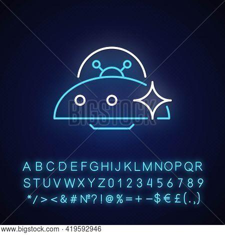 Ufo Neon Light Icon. Unidentified Flying Object. Alien Ivasion. High Tech Technologies. Outer Glowin
