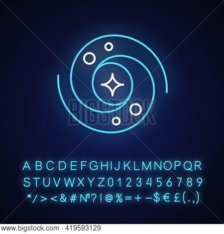 Galaxy Neon Light Icon. Gravitationally Bound System Of Stars And Planets That Are Spinning. Outer G