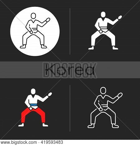 Taekwondo Dark Theme Icon. Martial Arts. Karate Fighter. Korean Culture. Warrior Training For Tourna