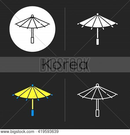 Korean Umbrella Dark Theme Icon. Bamboo And Paper Parasol. Ethnic Japanese Accessory. Seoul Travel.