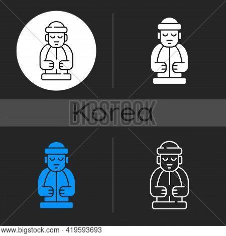 Jeju Island Statues Dark Theme Icon. Dol Hareubangs. National Ethnic Rock Totem. Stone Grandfather.