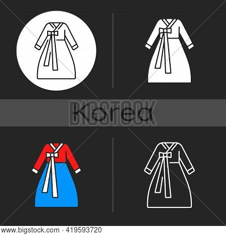 Hanbok Dark Theme Icon. National Asian Clothing. Oriental Dress For Women. Eastern Outfit For Girls.