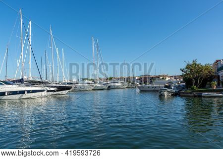 Travel And Vacation Destination, View On Houses, Roofs, Canals And Boats In Port Grimaud, Var, Prove