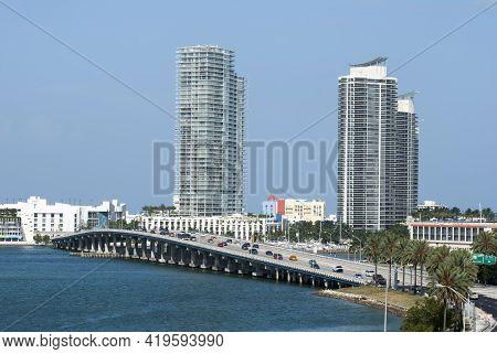 The View Of Macarthur Causeway Bridge Connecting Miami And Miami South Beach (florida).