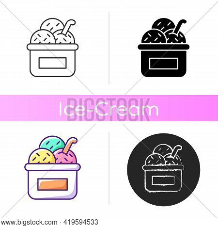Ice Cream In Cup Icon. Serving Frozen Treat. Smooth Consistency. Creamy, Sweet Dessert. Decorating W