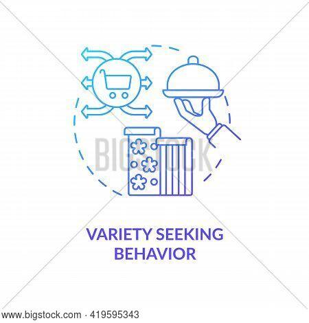 Variety Seeking Behavior Concept Icon. Low Customer Involvement Idea Thin Line Illustration. Testing