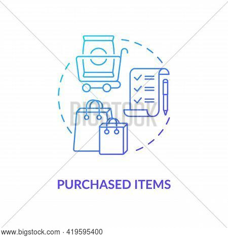 Purchased Items Concept Icon. Customer Behavior Pattern Idea Thin Line Illustration. Shopping Proces