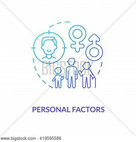 Personal Factors Concept Icon. Purchase Decision Factor Idea Thin Line Illustration. Characteristic