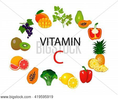 A Set Of Sources Of Vitamin C. Fruits And Vegetables Enriched With Ascorbic Acid. Dietary Nutrition,