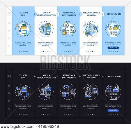 Resignation Checklist Onboarding Vector Template. Responsive Mobile Website With Icons. Web Page Wal