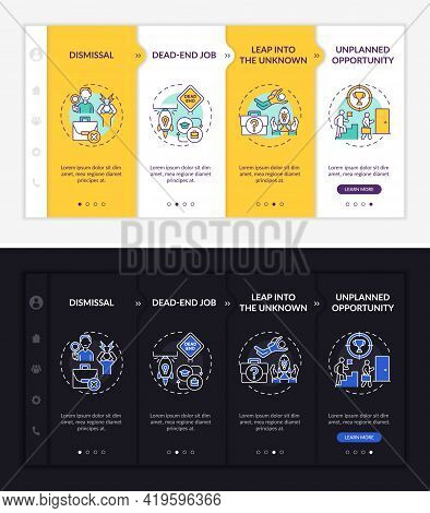 Job Transition Reasons Onboarding Vector Template. Responsive Mobile Website With Icons. Web Page Wa