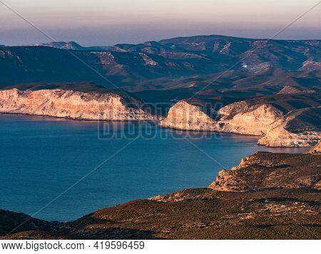 Coastal Landscape, Mesa Roldan Headland In Almeria Spain