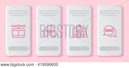 Set Line Cable Car, Taxi, Driver License And Call Telephone Service. White Rectangle Button. Vector