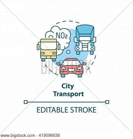 City Transport Concept Icon. Outdoor Air Pollutant Idea Thin Line Illustration. Urban Mobility. Tran