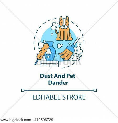 Dust And Pet Dander Concept Icon. Indoor Air Pollution Idea Thin Line Illustration. Animals With Fur