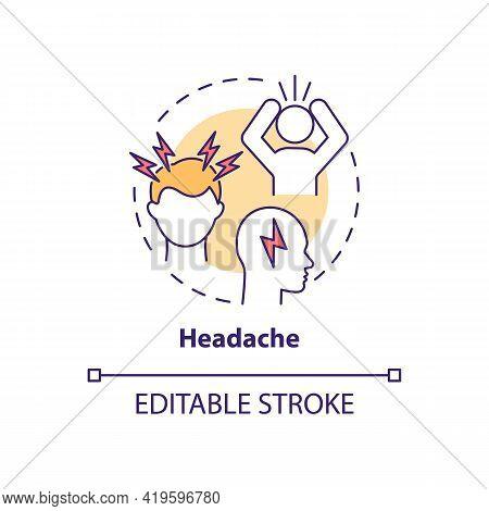 Headache Concept Icon. Air Pollution Disease Symptom Idea Thin Line Illustration. Migraines Triggers