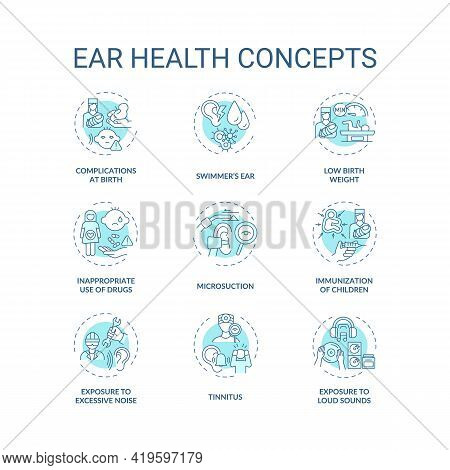 Ear Health Concept Icons Set. Hearing Loss Prevention Idea Thin Line Rgb Color Illustrations. Exposu