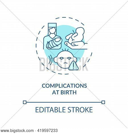 Complications At Birth Concept Icon. Hearing Loss Cause Idea Thin Line Illustration. Maternal Diabet