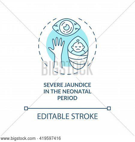 Severe Jaundice In Neonatal Period Concept Icon. Congenital Hearing Loss Idea Thin Line Illustration