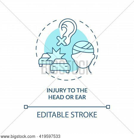 Injury To Head And Ear Concept Icon. Acquired Hearing Loss Cause Idea Thin Line Illustration. Damage