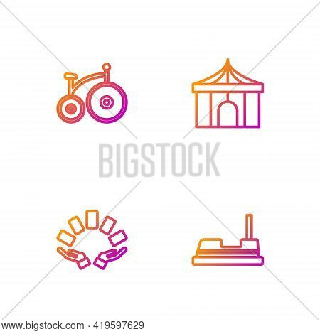 Set Line Bumper Car, Hand Holding Playing Cards, Vintage Bicycle And Circus Tent. Gradient Color Ico