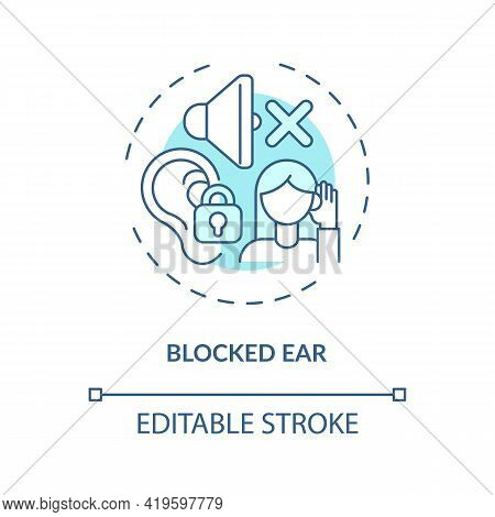 Blocked Ear Concept Icon. Top Ear Condition Idea Thin Line Illustration. Colds, Allergies Consequenc