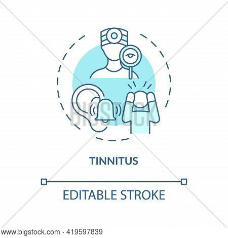 Tinnitus Concept Icon. Top Ear Condition Idea Thin Line Illustration. Ringing, Buzzing In Ear. Click